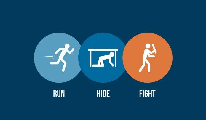 Run, hide, fight graphic